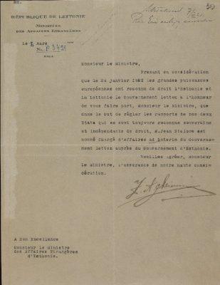 Läti de jure tunnustust kinnitav noot Eestile. Foto: Rahvusarhiiv