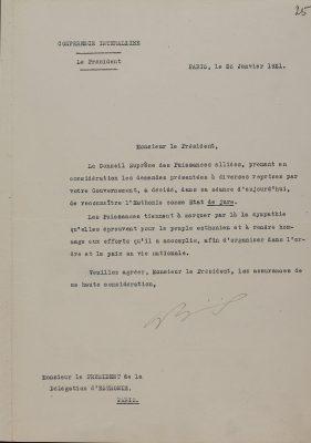 Liitlaste ülemnõukogu Eesti Vabariigi de jure tunnustamise kiri. Foto: Rahvusarhiiv