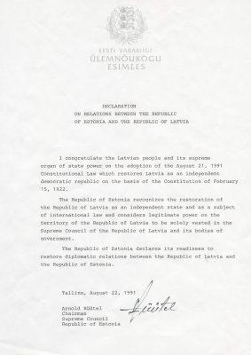Deklarācija par attiecībām starp Igaunijas Republiku un Latvijas Republiku (igauņu un angļu valodā)